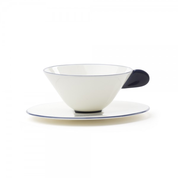 Five O'clock', tea cup & saucer, white with blue border