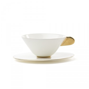 Five O'clock', tea cup & saucer, white with golden border