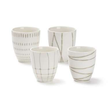 Variation' set of 4 assorted designs tea bowls 30 cl