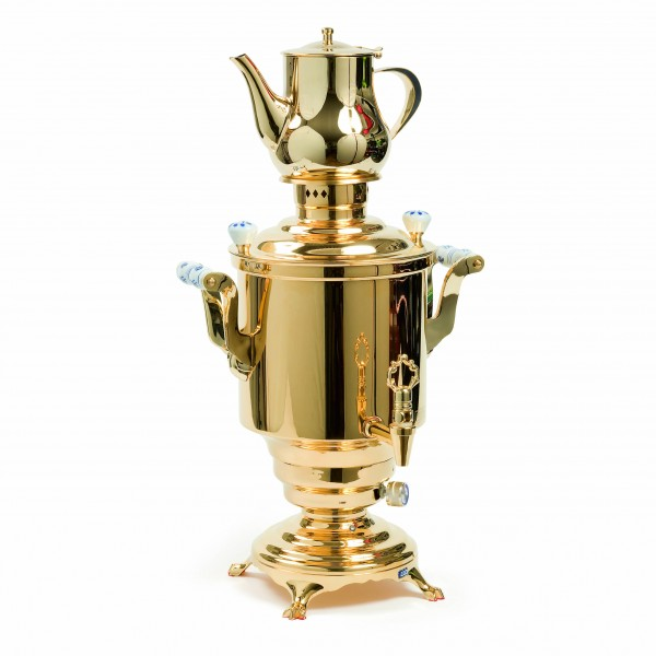 Romanov'' Electrical samovar électrique, golden plated, 5L