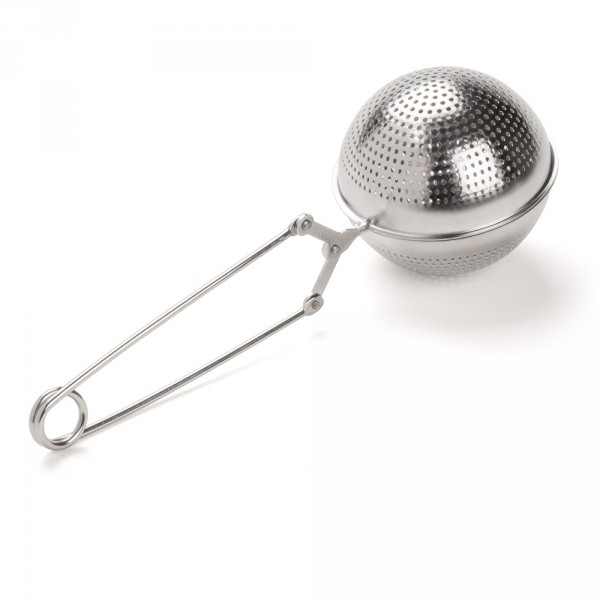 Perforated stainless steel teaspoon with tongs