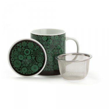VICTORIA - porcelain mug with lid - green