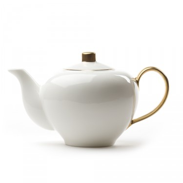 Five O'clock' porcelain teapot 1L -  White and gold