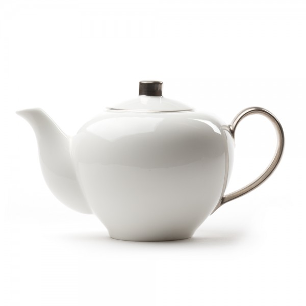 Five O'clock' porcelain teapot 1L -  White and platin