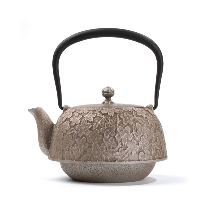 japanese cast iron teapot hanami 1 2 l silver. Black Bedroom Furniture Sets. Home Design Ideas