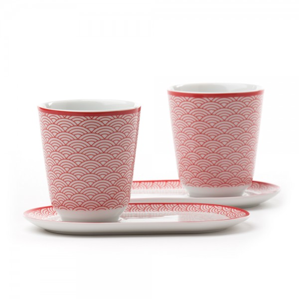 Auteuil' Set of 2 tea bowls with saucers - red pattern
