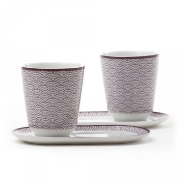 Auteuil' Set of 2 tea bowls with saucers - purple pattern