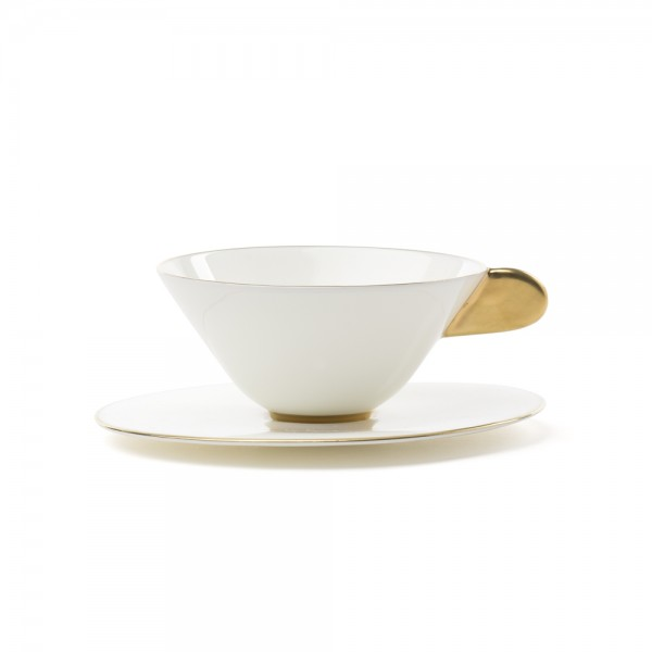 Five O'clock', tea cup & saucer, white with golden border