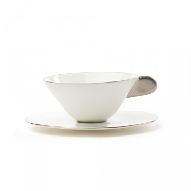 Five O'clock', tea cup & saucer, white with platine border