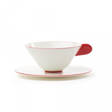Five O'clock', tea cup & saucer, white with red border