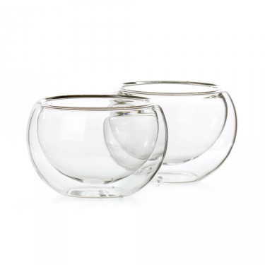 Bulles', set of 2 double wall glass tea bowls - 12,5 cl