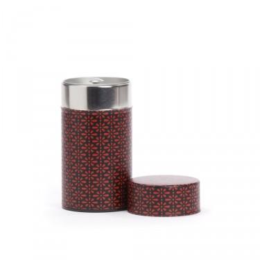 """""""Deiji"""", boîte à thé washi rouge et noire 100 g"""