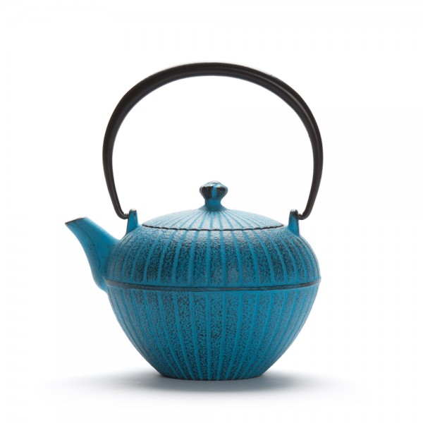 "Japanese cast iron teapot - ""Chakatake"" - blue teapot with filter"