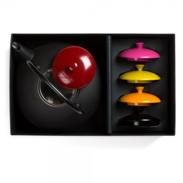 """Japanese cast iron teapot - 'Théières des Maîtres"""" teapot and wooden lids set"""