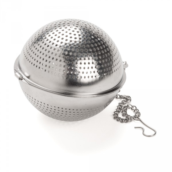Perforated stainless steel round tea bal