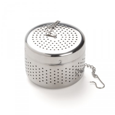 Chrome plated stainless steel cylindrical tea ball