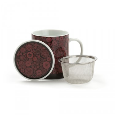 VICTORIA - mug porcelaine avec couvercle - ROUGE