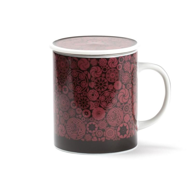 victoria mug rouge en porcelaine avec son filtre et son couvercle. Black Bedroom Furniture Sets. Home Design Ideas