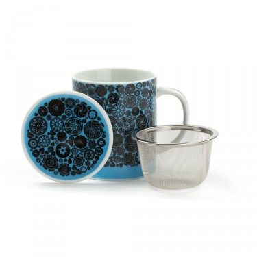 VICTORIA - mug porcelaine avec couvercle - BLEU