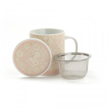 VICTORIA - porcelain mug with lid - pink
