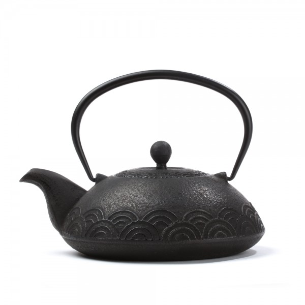 Chinese cast iron teapot - 'Fan' 0,6 L - black