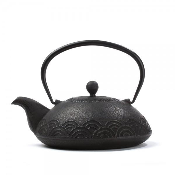 Théière Fonte de Chine - Fan arabesque - noire 0.6L
