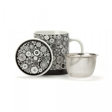 VICTORIA - PORCELAIN MUG WITH LID  - BLACK