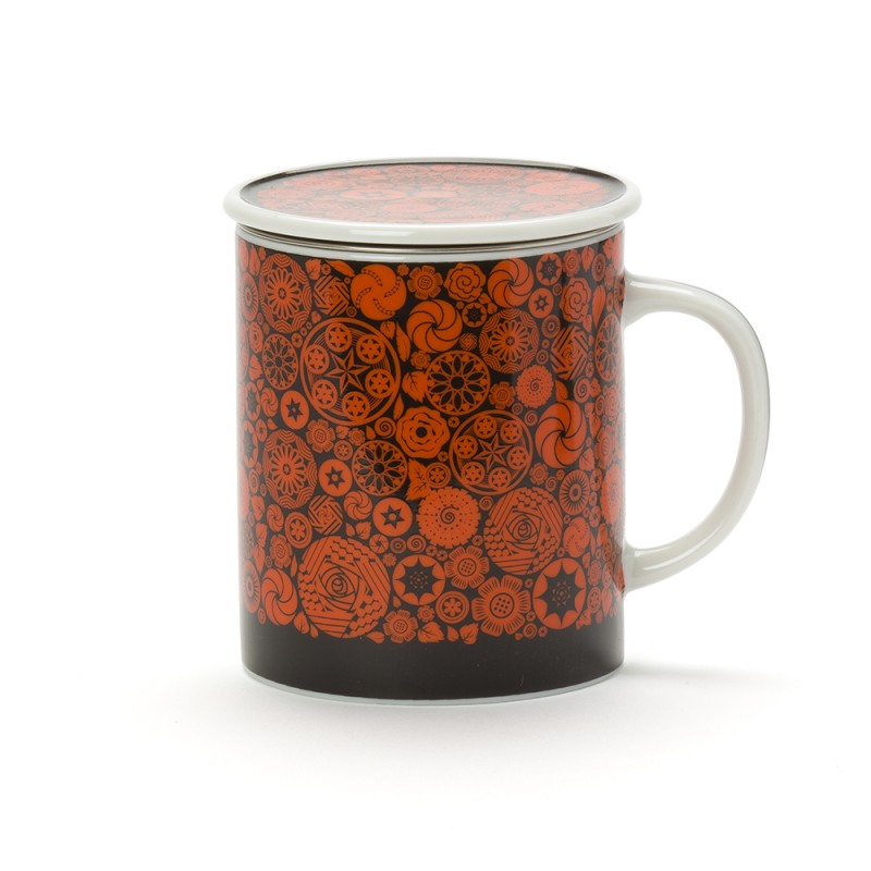 victoria mug porcelaine avec couvercle orange dammann fr res. Black Bedroom Furniture Sets. Home Design Ideas