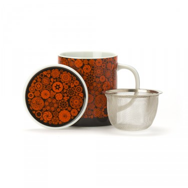 VICTORIA - PORCELAIN MUG WITH LID - ORANGE