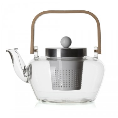 Glass teapot - MADRAS 1L - Porcelain filter - bamboo handle