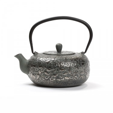 Chinese cast iron teapot - OMBRAGE 0.8L - GREEN GRAY & SILVER