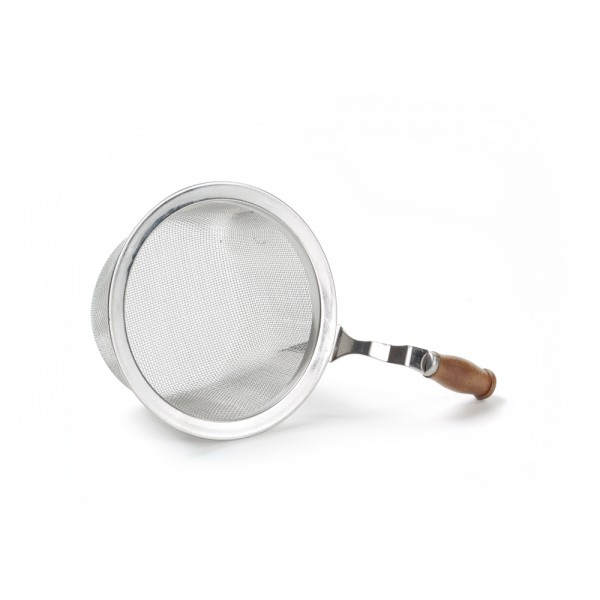 Stainless steel strainer with wooden handle