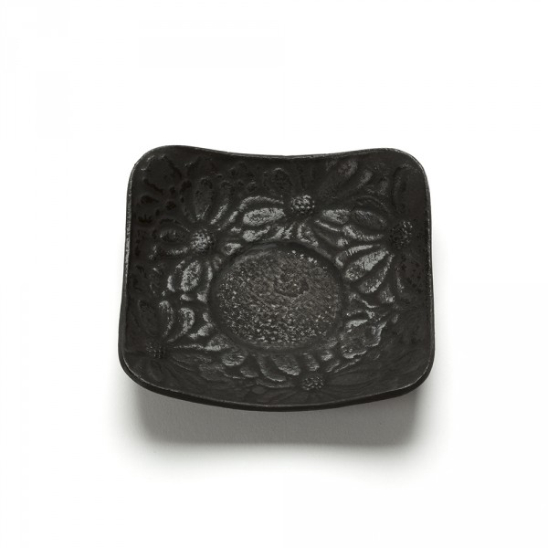 FLEURS, BLACK SQUARE SHAPED SAUCER