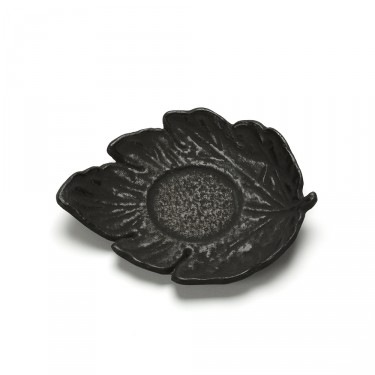 FEUILLE, BLACK LEAF SHAPED SAUCER