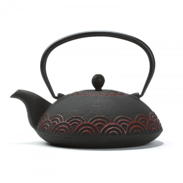 Chinese cast iron teapot - 'Fan' 0,6 L - black and red