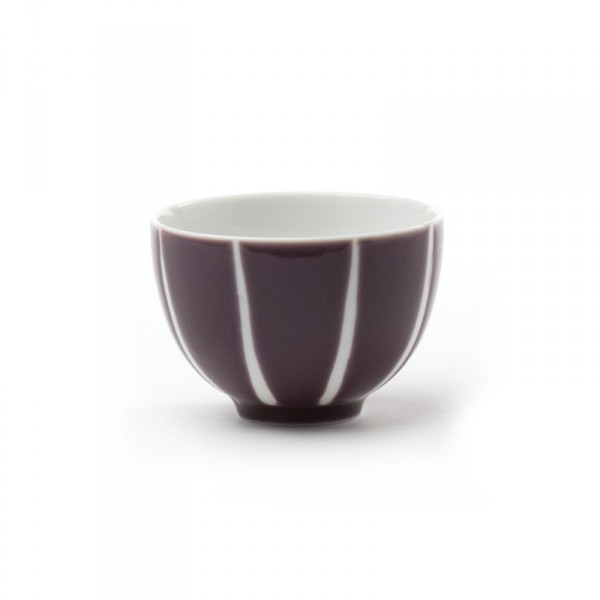 Purple tea bowl with white stripes