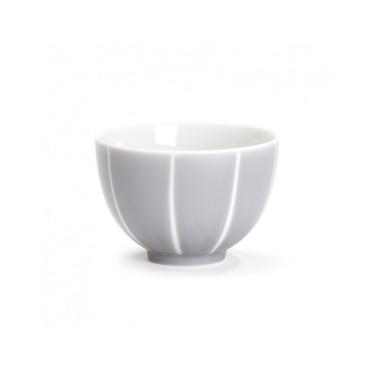 Grey bowl with white stripes