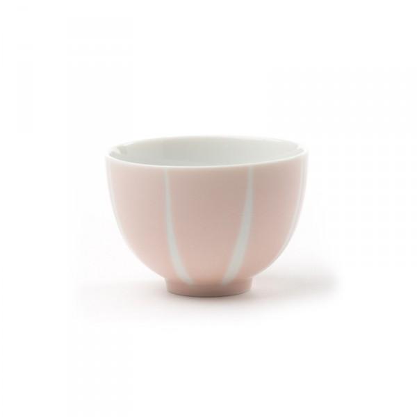 Pale pink tea bowl with white stripes