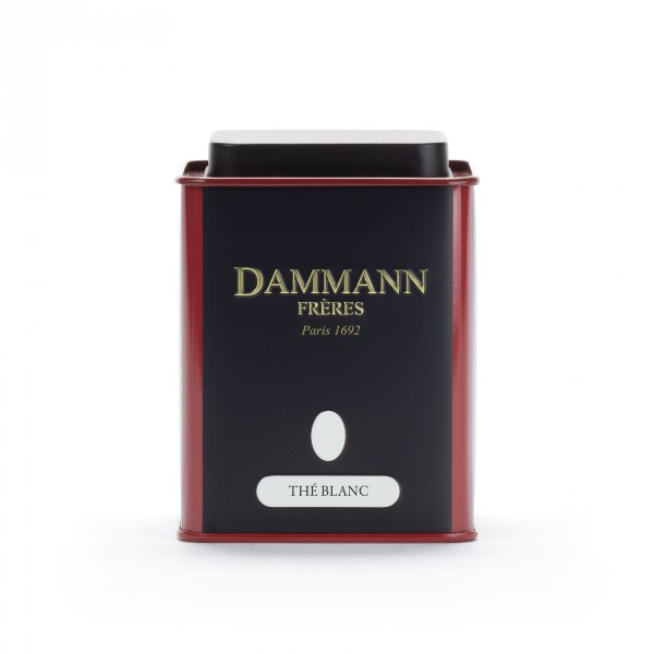 Empty Dammann Frères's canister 'Thé blanc'