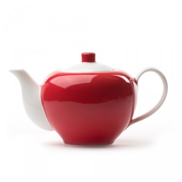 Five O'clock' porcelain teapot 1L -  White and red