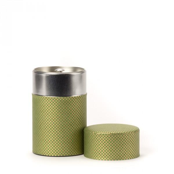 SHIKAKU, green washi paper tea canister 100g