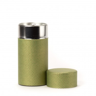 SHIKAKU, green washi paper tea canister 150G