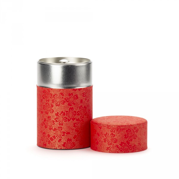 BLOOMING CHERRY, red washi paper tea canister 100g
