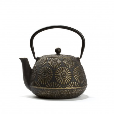 Chinese cast iron teapot - MUDAN  1L - Black & gold