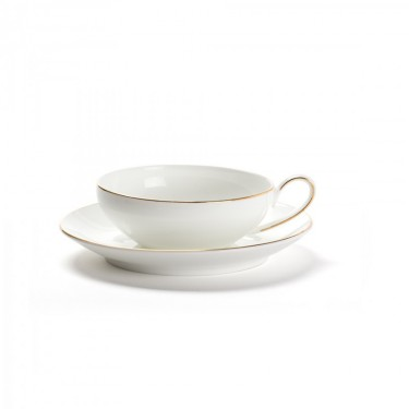 CONCORDE - Set 2 tasses & sous-tasses - Bone China - Liseré or