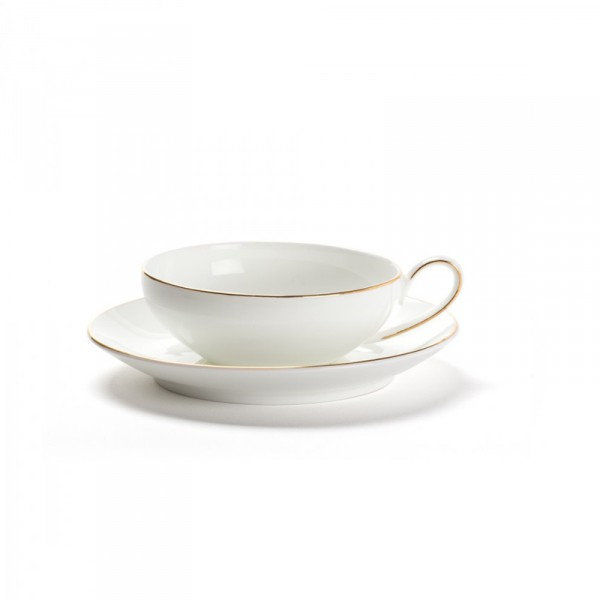 CONCORDE - set of 2 bone china cups & saucers - golden border