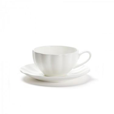 CHÂTELET - Set 2 tasses & sous-tasses - porcelaine blanche