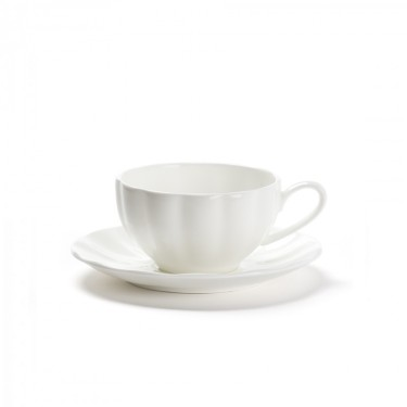 CHÂTELET - Set of 2 white porcelain cup & saucer