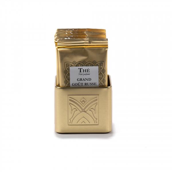 Tea bag tray, golden finish metal