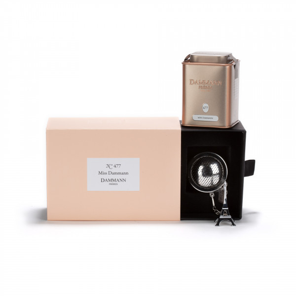 "COFFRET N°477 - 1 flavored tea ""Miss Dammann"" in canister and 1 infuser"